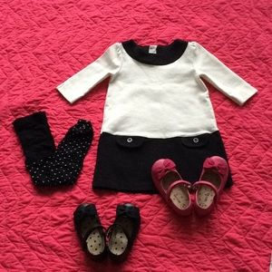 LIKE NEW| Gymboree toddler PONTE off-wht/blk dress